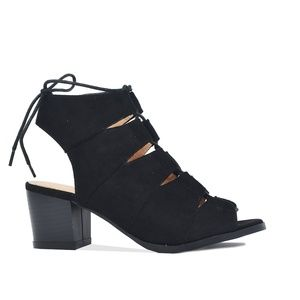 Black Women's Sling Back Cut Out Heeled Sandal
